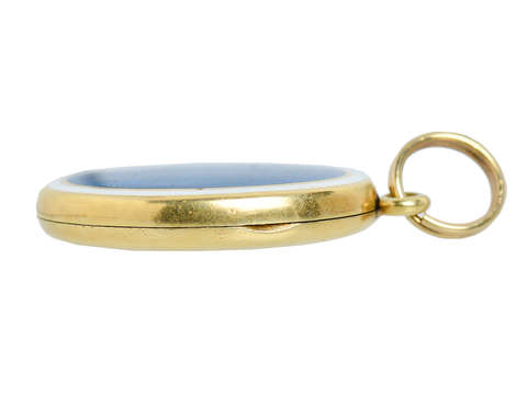 Sloan  Co. Antique Blue Enamel Locket Pendant