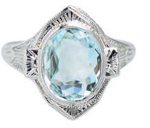 Vintage Soul - Aquamarine Filigree Ring