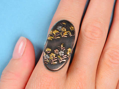 Antique Japanese Shakudo Ring