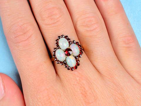 Vintage Opal Bohemian Garnet Ring