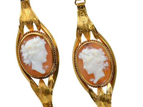 Victorian Cameo Earrings of Goddess Flora