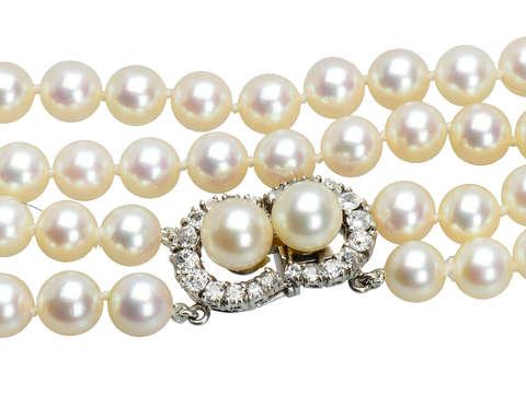 1930s Grand - Crescent Moon Diamond Clasp & Pearls