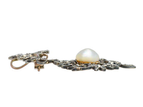 Georgian Mabe Pearl Diamond Pendant Brooch