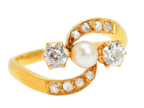 Antique Pearl Diamond Crossover Ring