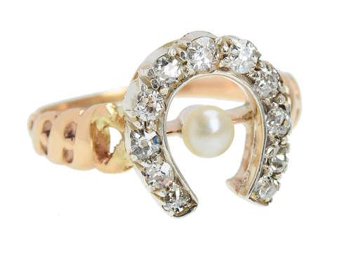 Antique Horseshoe Pearl Diamond Ring