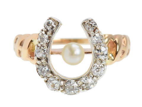 Antique Horseshoe Pearl Diamond Ring