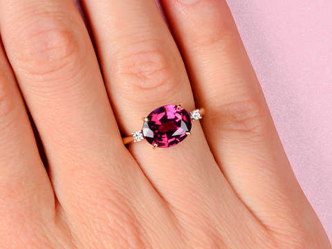 Vintage East West Garnet Diamond Ring