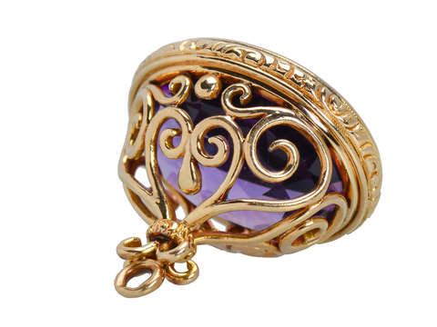 Antique Amethyst Fob Pendant in Gold