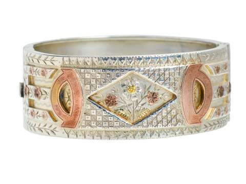 Three Color Victorian Silver Bangle with Flowers