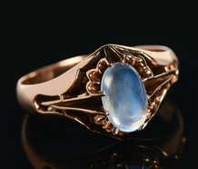 Victorian Rose Gold Blue Moonstone Ring