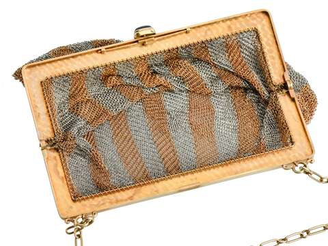 Art Deco Solid Gold Mesh Purse & Sapphire Clasp