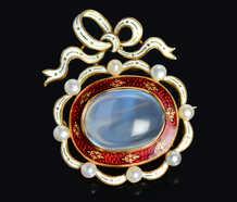 Fine Moonstone Enamel Brooch with Provenance of 1864
