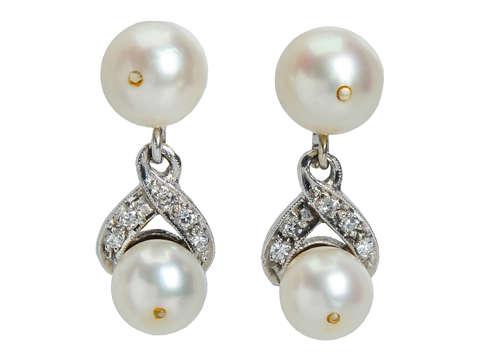 Vintage Pearl Diamond Dangle Earrings