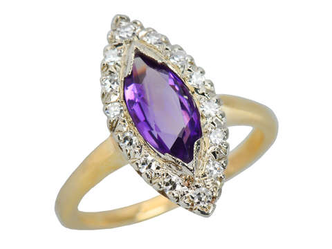 Vintage Amethyst Diamond Marquise Shaped Ring
