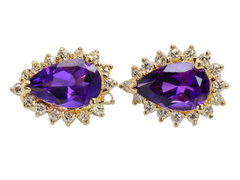 Vibrant Corona - Vintage Amethyst Diamond Earrings