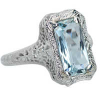 Aquamarine Allure- Vintage Filigree White Gold Ring