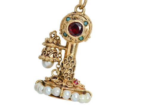Make the Call - Telephone Gold Pendant Charm