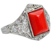 Coral Art Deco Diamond Ring