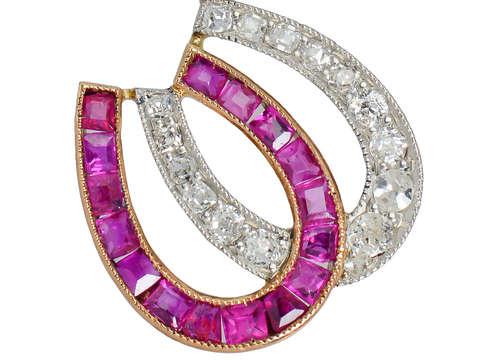 Antique Ruby Diamond Double Horseshoe Pendant