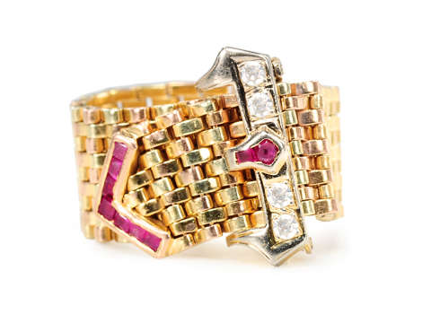 Really Retro Diamond & Ruby Buckle Ring