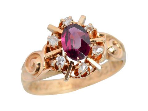 Christmas Past - Garnet Edwardian Ring of 1895