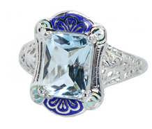 Blue on Blue - Aquamarine Enamel Vintage Ring