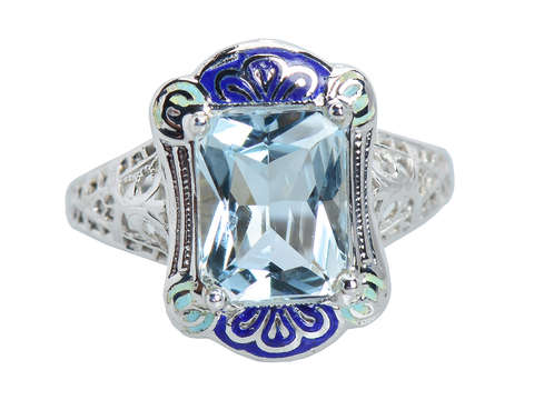 Blue on Blue - Aquamarine Enamel Vintage Ring