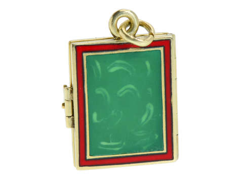 Christmas Colors - Gold Enamel Book Locket