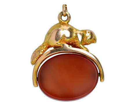 Beaver Spinner Fob Pendant with Carnelian Agate