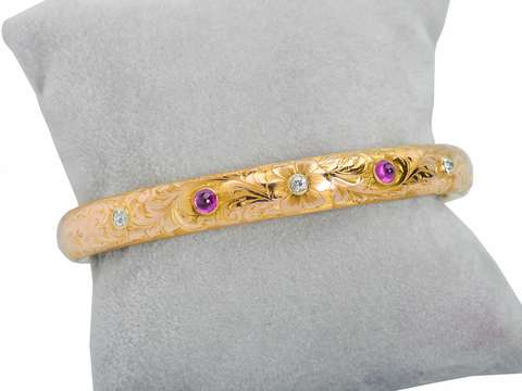 Ruby Engraved Antique Bangle Bracelet