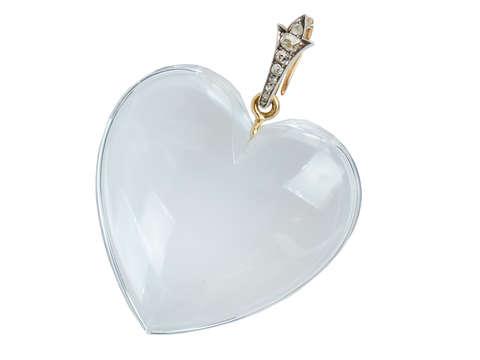 Splendid Rock Crystal Heart Pendant Diamond Bale