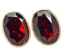 Garnet Glory - Vintage Gold Stud Earrings
