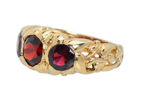 Antique Three Stone Garnet Ring in Gold