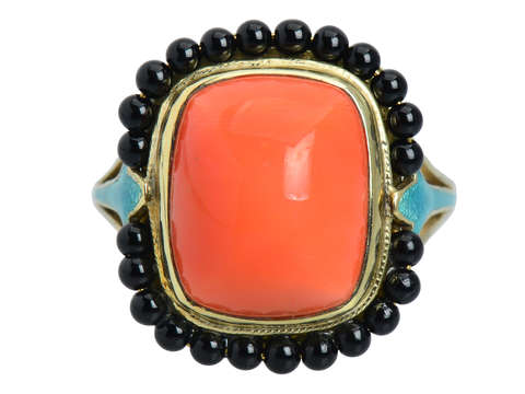 Art Deco Coral, Onyx & Enamel Ring