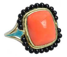 Art Deco Coral, Onyx & Enamel Ring