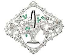 Vintage Basket of Diamonds Brooch