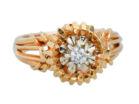 Vintage French Two Color Gold Diamond Ring