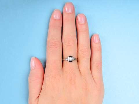 Art Deco Belais Diamond Sapphire Engagement Ring