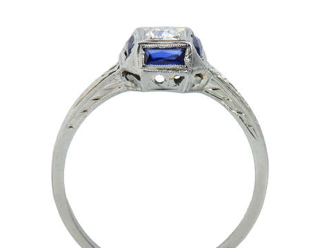 Art Deco Belais Diamond Sapphire Engagement Ring