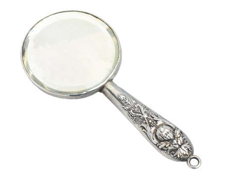 Kerr Signed Silver Miniature Cherub Mirror Pendant
