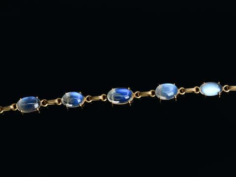 Vintage Blue Moonstone Link Bracelet in Gold
