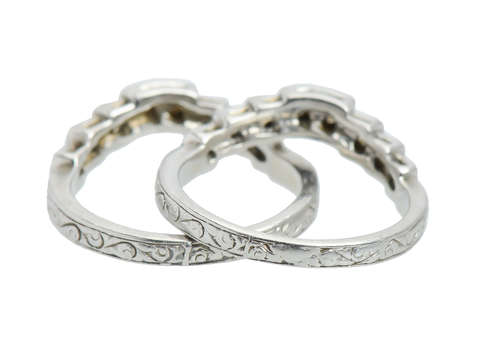 Vintage Diamond Platinum Wedding Ring or Guards