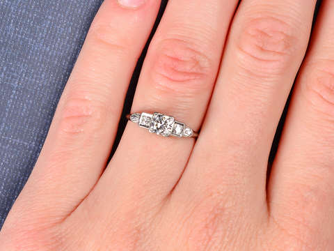 Vintage Stair Step Diamond Engagement Ring