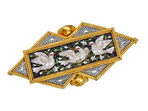 Exceptional Micro Mosaic Brooch of Doves - Original Box