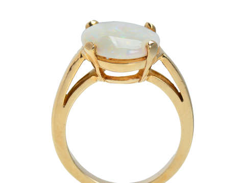 Vintage Australian Opal Oval Ring in 14k Gold