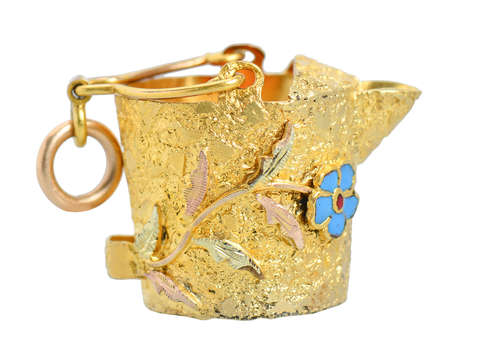 Antique Flowered Watering Can Gold Pendant Charm