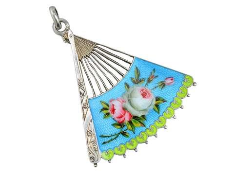 Antique Vivid Enamel Silver Fan Pendant