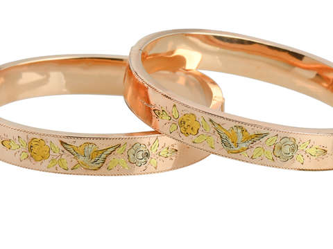 Victorian Pair of Bangles - Roses & Birds