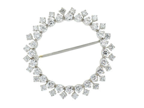 Corona - Diamond Platinum Circular Brooch