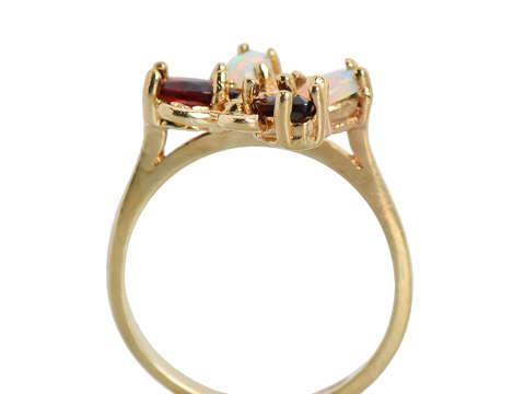 Vintage Opal Garnet Butterfly Ring